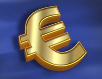 Euro + Flag. Golden euro over a blue background (flag Stock Photo