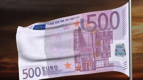 500 euro flag 3d animation stock video footage