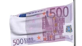 500 euro flag 3d animation stock video