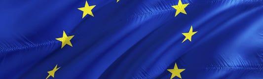 Euro flag. Flag of EU. 3D Waving flag design,3D rendering. The national symbol of EU background wallpaper. 3D ribbon, wallpaper,. Pattern background. Waving stock photography