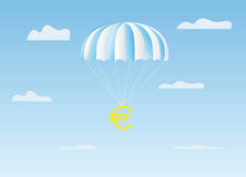 The euro flies on a parachute Royalty Free Stock Photography