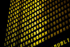 Euro Flights. Airport departure timetable detail with europe cities Stock Photo