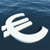 Euro Floating Showing Money Wealth Or Earnings Stock Photography