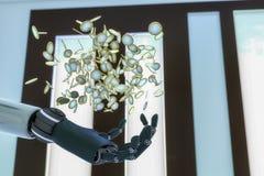 Euro flotteur de pièces de monnaie au-dessus d'une main robotique Images libres de droits