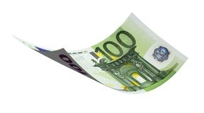 Euro. Flying 100 euro banknote money on a white background vector illustration