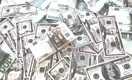 Euro fond d'aquarelle d'argent de billets de banque du dollar photos libres de droits