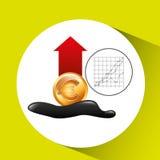 Euro fond de diagramme de croissance d'industrie pétrolière d'augmentation Photo stock