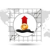 Euro fond de diagramme de croissance d'industrie pétrolière d'augmentation Image stock