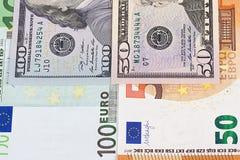 euro 100 fondo del extracto del dinero de 50 dólares Imagen de archivo libre de regalías