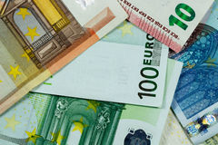 Euro fondo delle banconote dei soldi - primo piano Immagine Stock