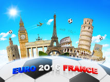 Euro 2016 Football championship in France. Famous european landmarks grouped together on a football Stock Photography