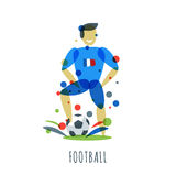 Euro 2016. Football championship. French player with ball. Football championship. French player with ball. Vector isolated sports man with soccer ball. Print Royalty Free Stock Photo