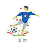 Euro 2016. Football championship. Italian player with ball. Football championship. Italian player with ball. Vector isolated sports man with soccer ball. Print Stock Image