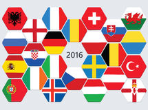 Euro football competition team flags. Stock Photos