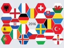 Euro football competition team flags. Stock Photos
