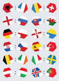Euro football competition team flags. Stock Images