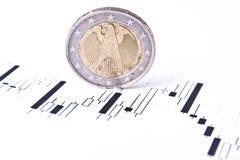 Euro Forex Grafiek Royalty-vrije Stock Afbeeldingen