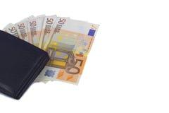 Euro från plånboken Arkivbild