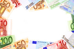 Euro frame. Money frame of Euro currency notes over white Stock Photos