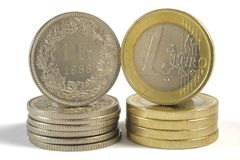 Euro and franc currency Stock Images