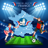EURO France 2016 Championship. Football Game Infographic France 2016 European Championship Soccer Players. Final qualified countries. Europe Tournament group Stock Photography