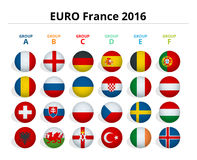 Euro 2016 in France. Flags of European countries participating to the final tournament of Euro 2016 football Stock Photos