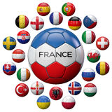 Euro 2016 France Football Teams. Football 2016 UEFA European Championship football teams flags around a France football Royalty Free Stock Photo