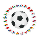 Euro 2016 France. Vector flags and groups. European football championship. Soccer tournament. Flags with country names. Flat 3d isometric illustration Royalty Free Stock Photos
