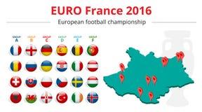 Euro 2016 in Francia Bandiere dei paesi europei che partecipano al torneo finale di calcio 2016 dell'euro Fotografia Stock Libera da Diritti