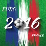 Euro-Frankreich-Fußballmeisterschaft 2016 mit Ball und Frankreich-Flagge lizenzfreie stockbilder