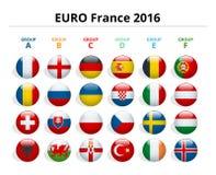 Euro 2016 in Frankrijk Vlaggen van Europese landen die aan de definitieve toernooien van de voetbal van Euro 2016 deelnemen Stock Afbeelding