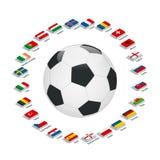 EURO Frankrike 2016 Vektorflaggor och grupper Europeisk fotbollmästerskap Fotbollturnering Flaggor med landsnamn Royaltyfria Foton