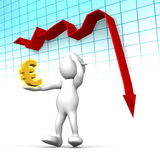 Euro in free fall. Three dimensional render of a cartoon human figure, holding his head while a graph shows the Euro in rapi decline. Conceptual image for Royalty Free Stock Photos