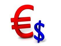 euro fuerte 3D contra dólar débil Ilustración del Vector