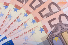Euro- fundo do dinheiro Cinqüênta euro- notas de banco Moeda da União Europeia Fotos de Stock Royalty Free