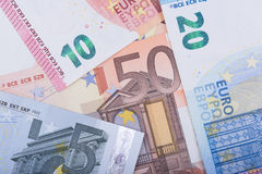 Euro- fundo do dinheiro Euro- notas com reflexão Moeda da União Europeia Imagem de Stock Royalty Free