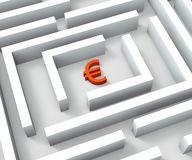 Euro Funds In Maze Shows Euros Credit. Crisis Royalty Free Stock Image
