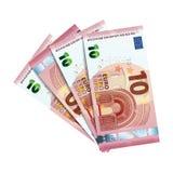 Euro fyrtio i packe av sedlar på vit Arkivfoto