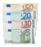 Euro geïsoleerdei bankbiljetten Stock Fotografie