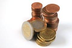 Euro geïsoleerden muntstukken Royalty-vrije Stock Afbeelding