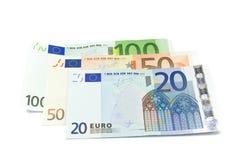 Euro geïsoleerder bankbiljetten Stock Foto's