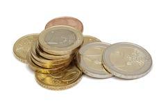 Euro (geïsoleerder) muntstukken Royalty-vrije Stock Afbeelding