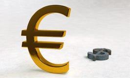 Euro gegen Dollar Stockfoto