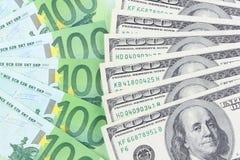 Euro gegen Dollar Stockbilder