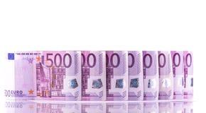 Euro geld 500 bankbiljettenachtergrond stock foto's