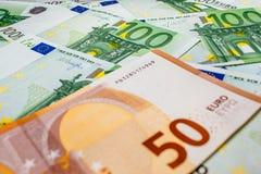 Euro geld euro contant geldachtergrond Euro geldbankbiljetten Stock Fotografie