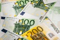 Euro geld euro contant geldachtergrond Euro geldbankbiljetten Royalty-vrije Stock Afbeeldingen