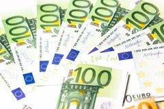 Euro geld euro contant geldachtergrond Euro geldbankbiljetten Stock Afbeeldingen