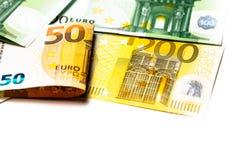 Euro geld euro contant geldachtergrond Euro geldbankbiljetten Stock Foto's