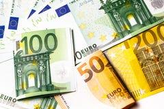 Euro geld euro contant geldachtergrond Euro geldbankbiljetten Stock Foto